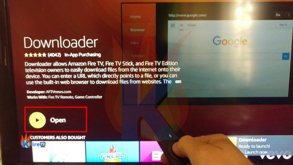 Press Open to Launch the Downloader app for Firestick