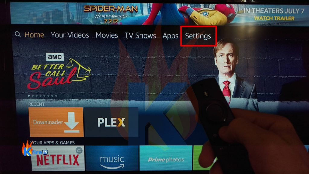 Select Settings from the Amazon Fire stick home screen