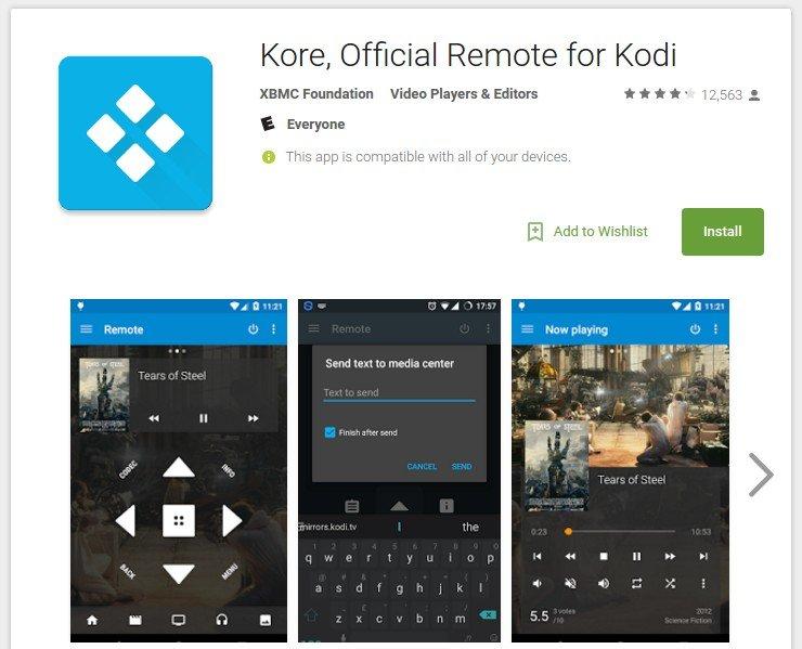 Kodi / XBMC Remote Kore (official)