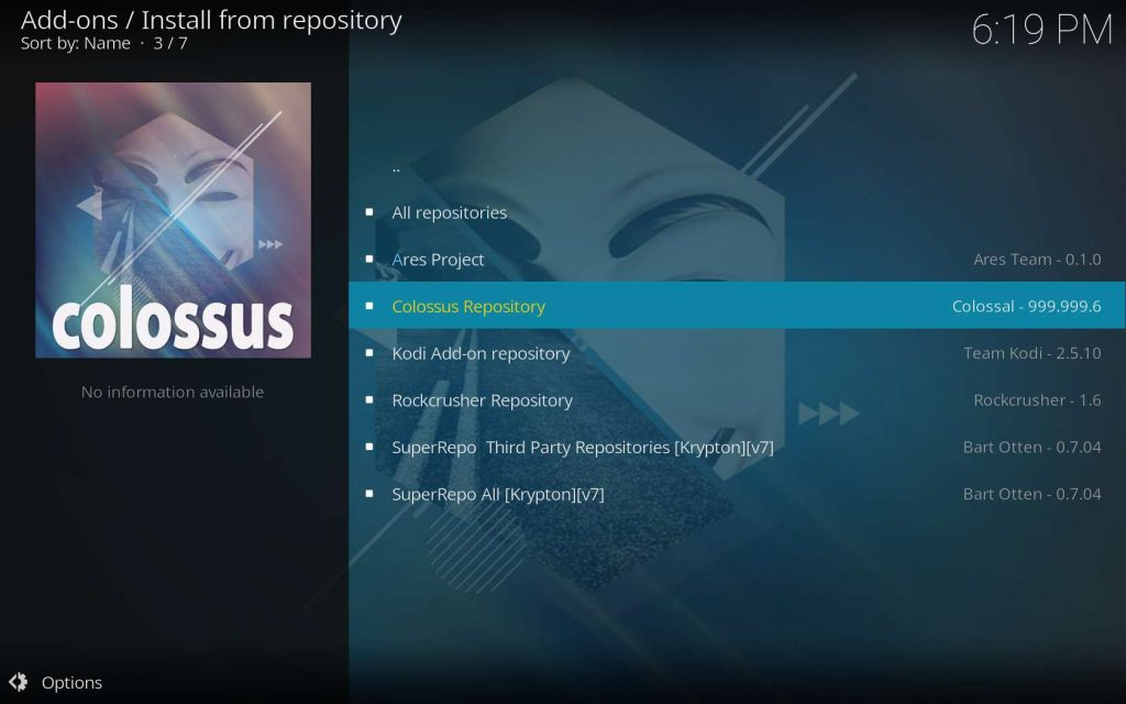 choose to install Adult Swim from the Colossus repo