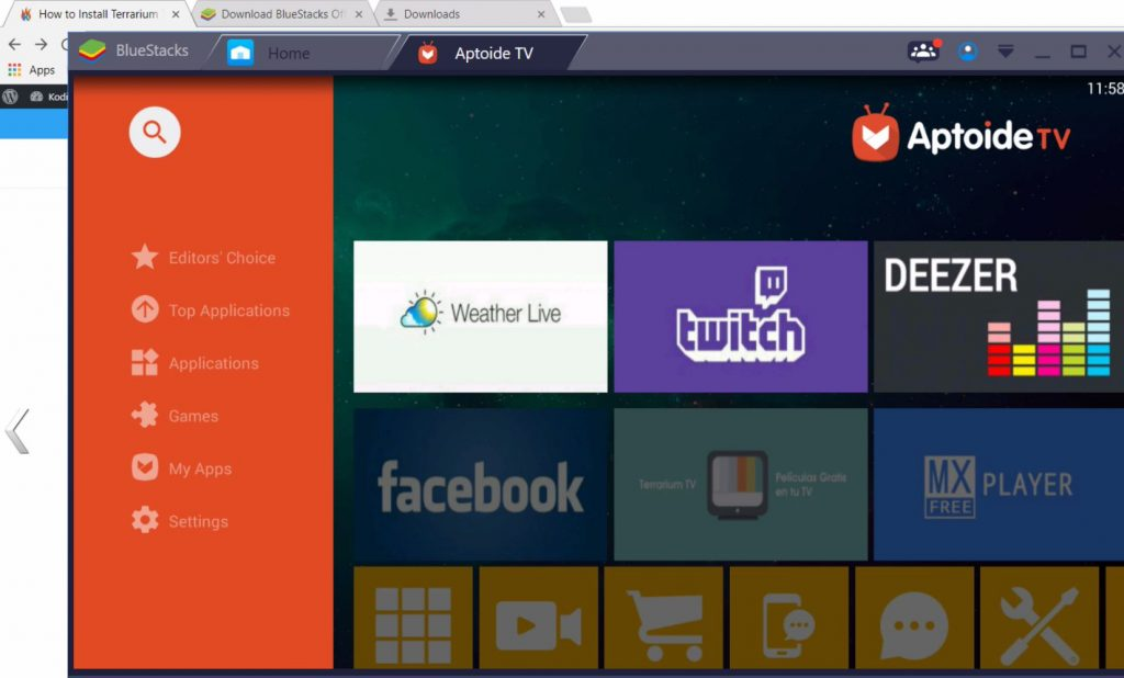 Menu for Aptoide on Windows PC