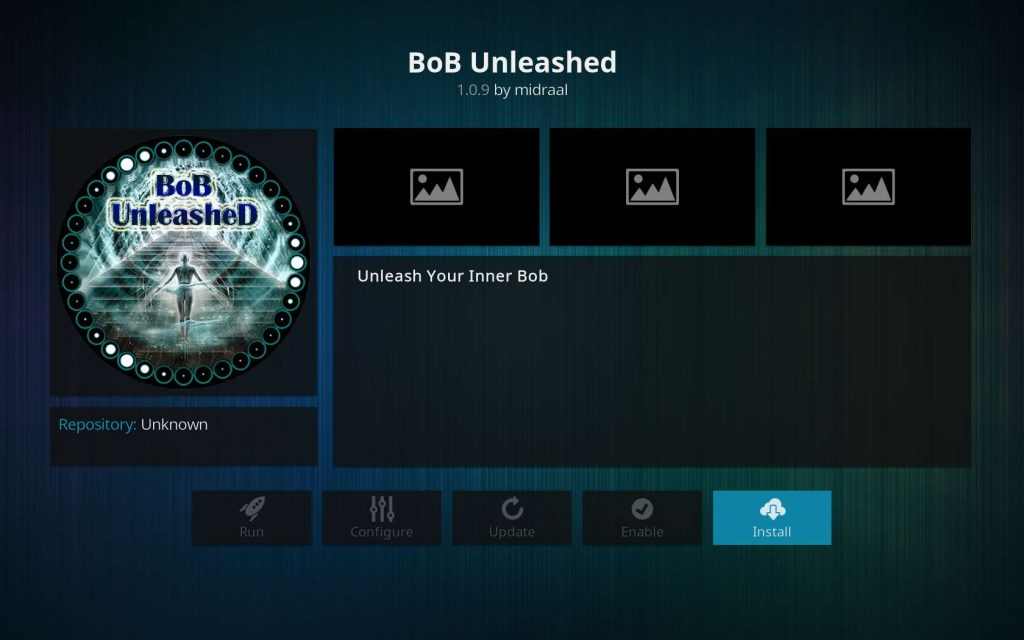 Installing BoB Unleashed (example of Plugin in TVAddons court case)