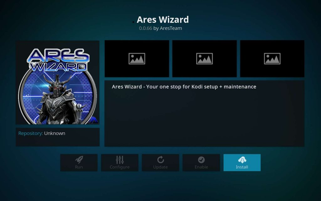 Click Ares Wizard Install