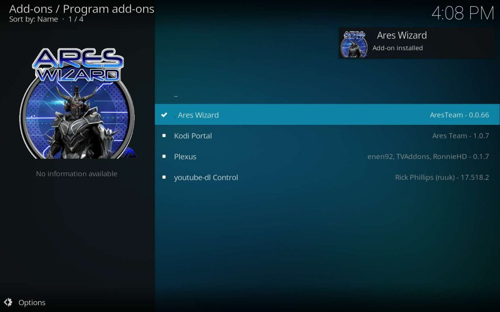 Ares Wizard Installed