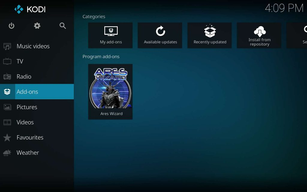 Find Ares Wizard in Kodi Add-ons