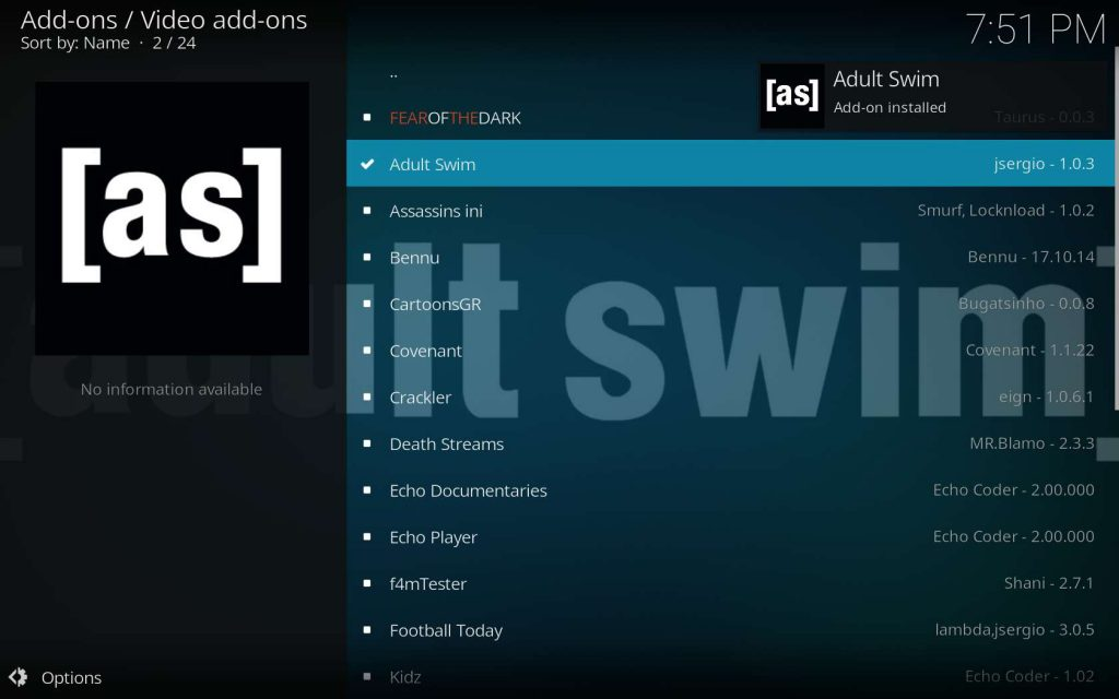 Adult Swim Successfully Installed