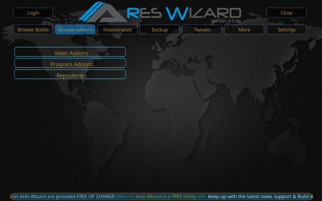 Kodi Ares Wizard - Select Browse Addons