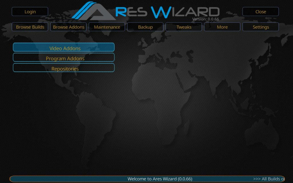 Browse Ares Wizard Video Addons
