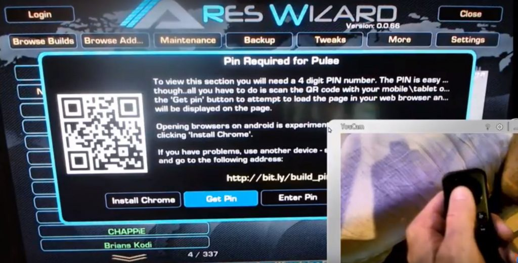 Kodi 17.4 Pulse Build PIN number