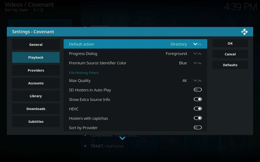 Change Covenant Default Playback Setting to Directory