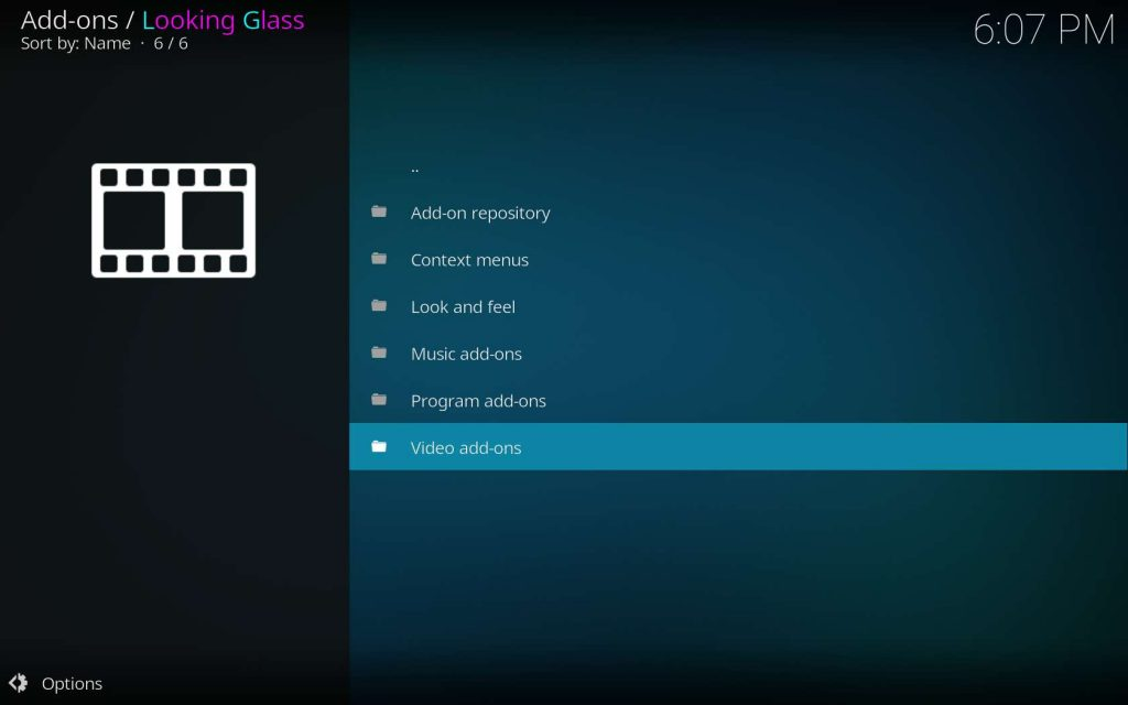 Choose Looking Glass Video add-ons