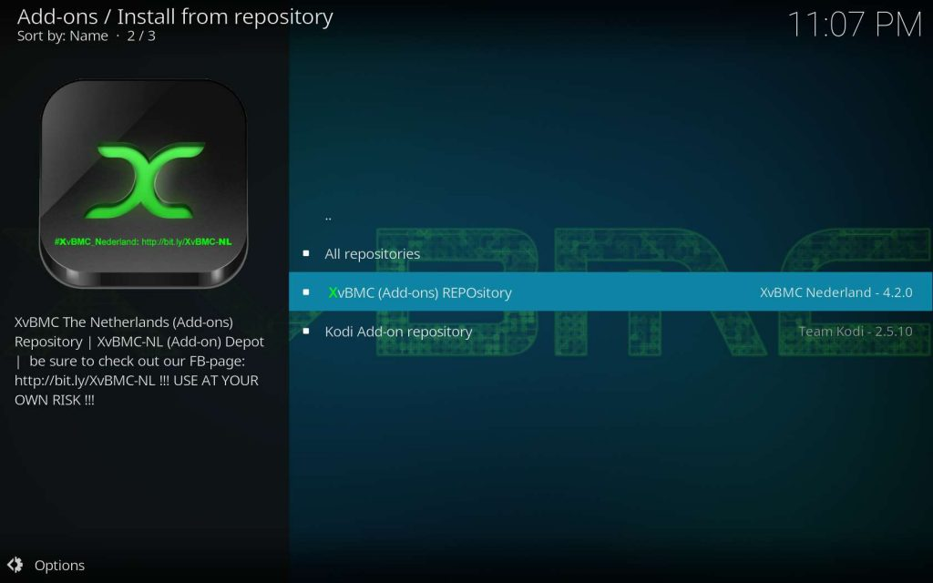 Choose XvBMC REPOsitory