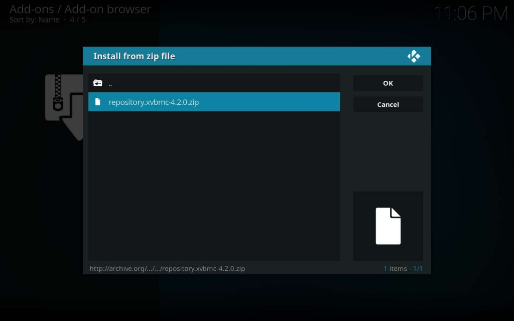 Choose repository.xvbmc.4.2.0.zip File