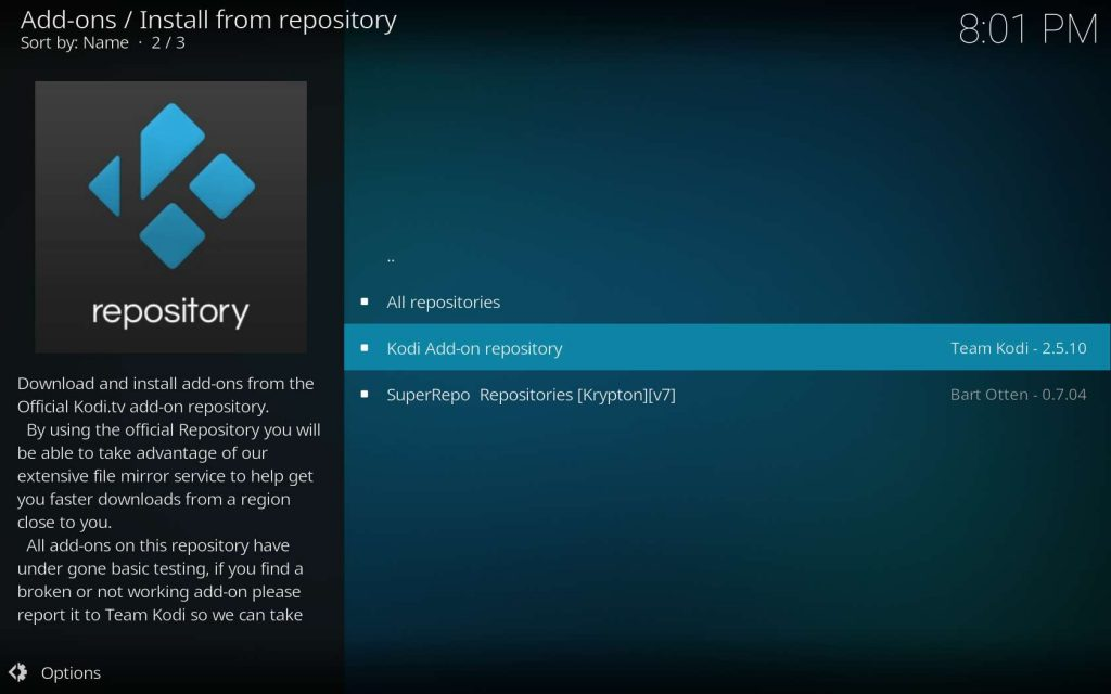 Choose the Official Kodi Add-on repository