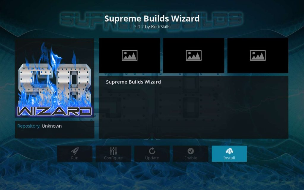 Click Install Button for Supreme Builds Wizard