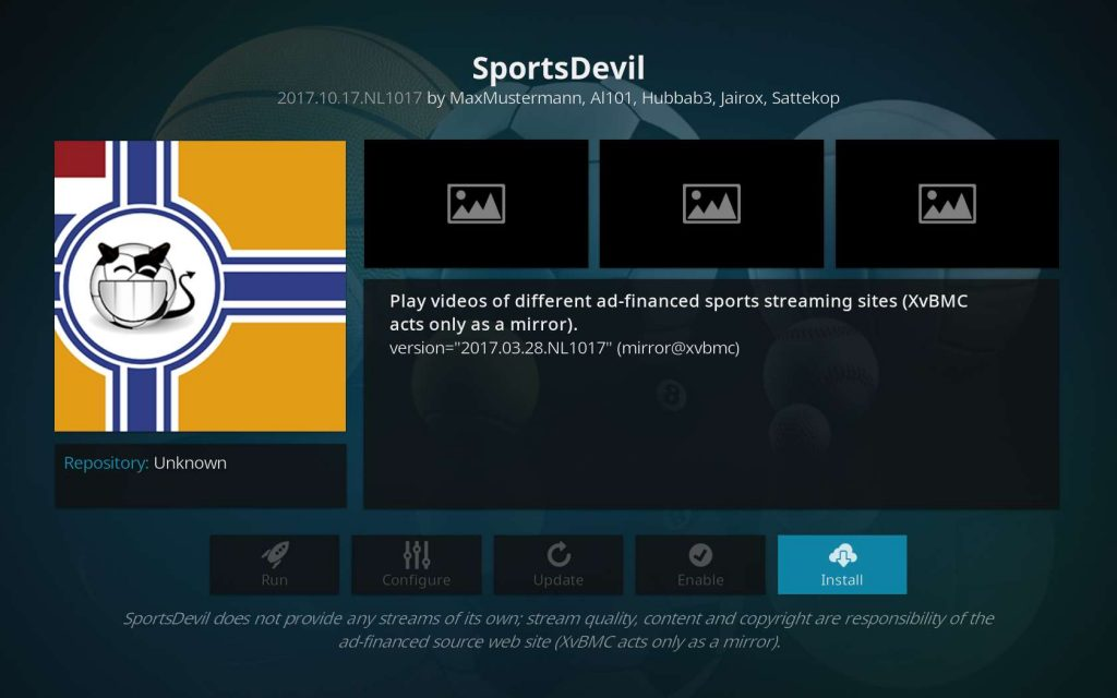 Click Install For SportsDevil