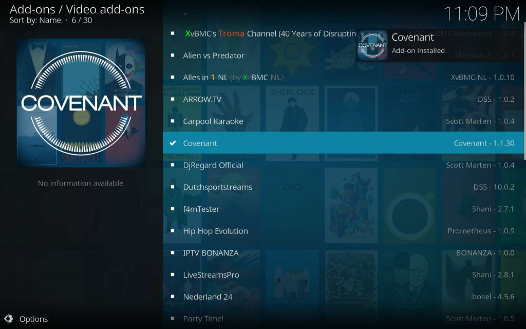 Covenant Installed Thanks To XvBMC