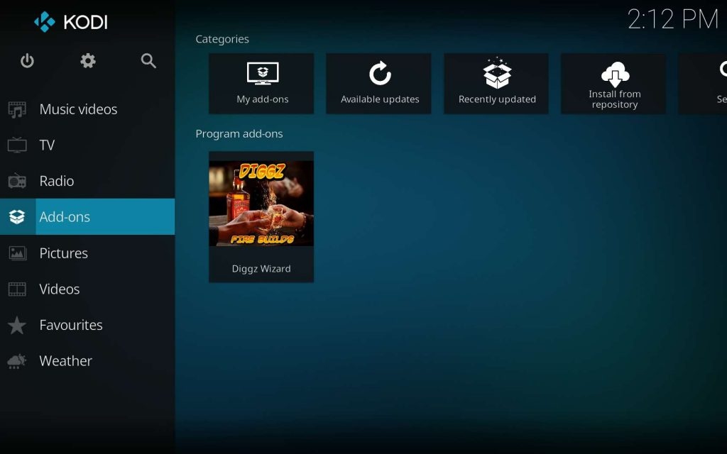 Diggz Wizard within Kodi Program add-ons