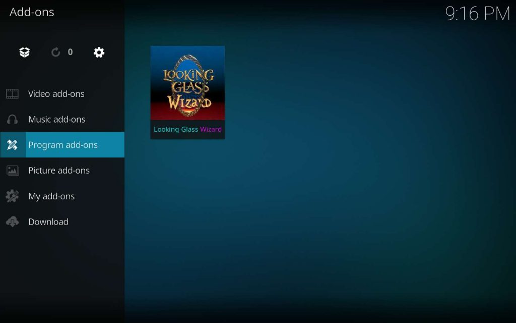 Find Looking Glass Wizard in Kodi Program add-ons