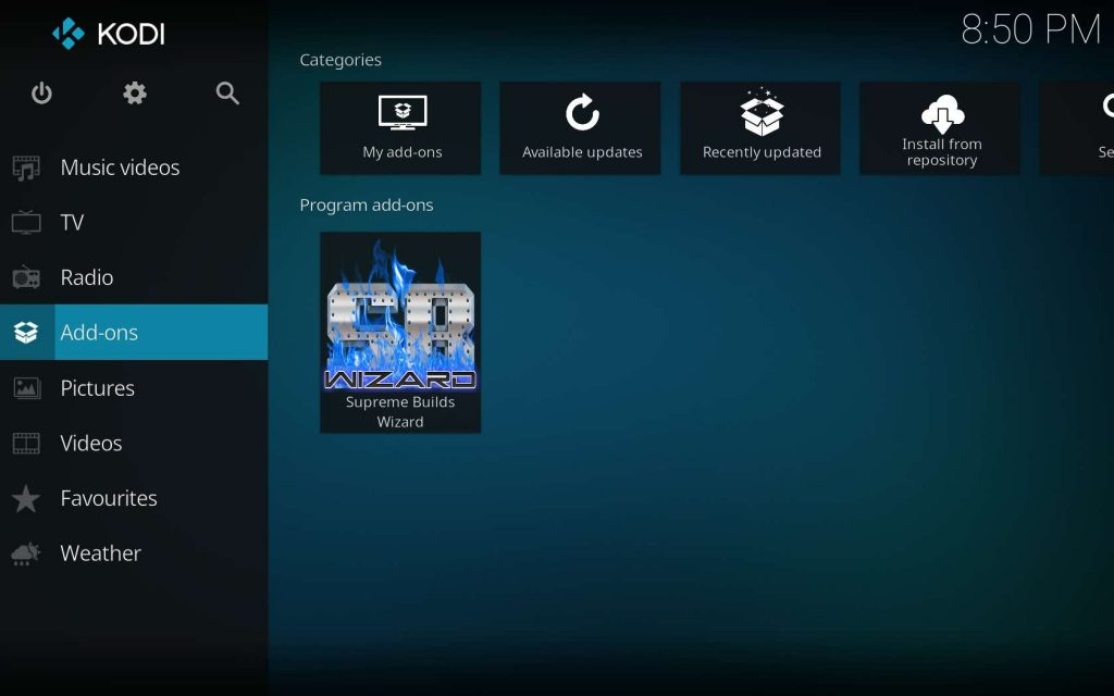 Find Supreme Builds Wizard in Kodi Program add-ons