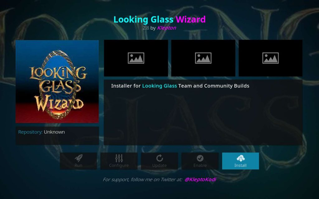 Install Button for the Looking Glass Wizard