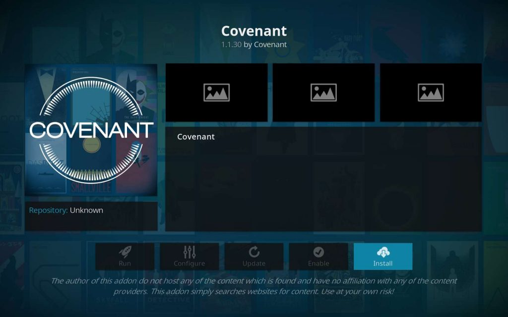 Install Covenant from XvBMC
