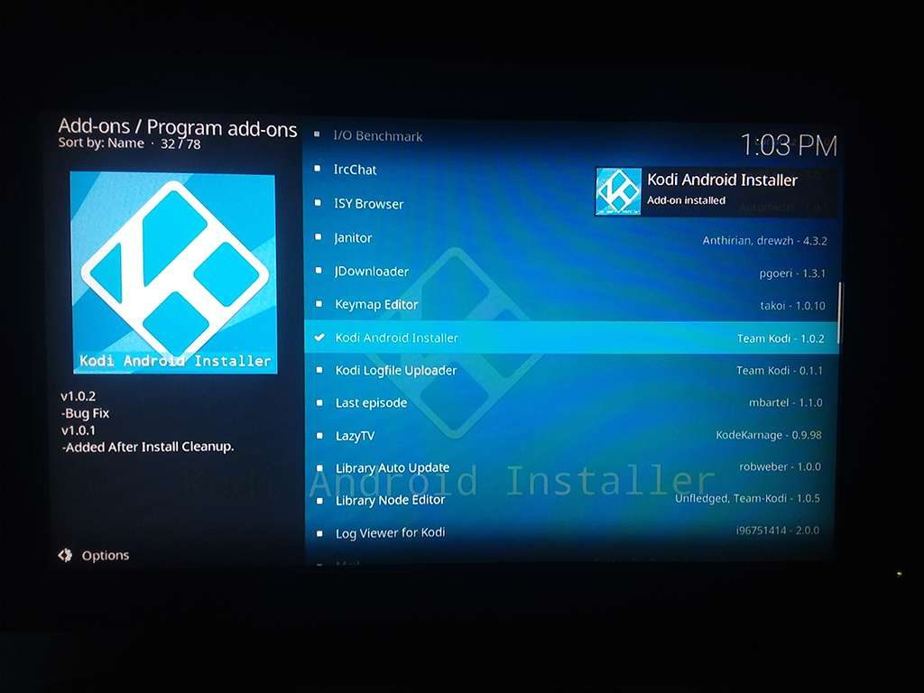 Kodi Android Installer Successfully Installed