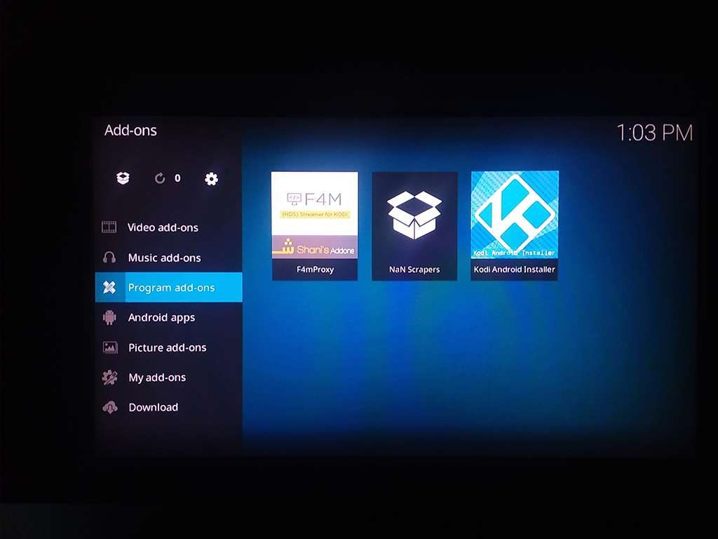 Kodi Android Installer found in Program add-ons