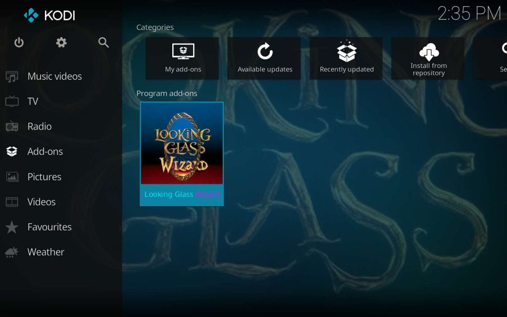 Looking Glass Wizard as Seen on Kodi Home Screen in Add-ons