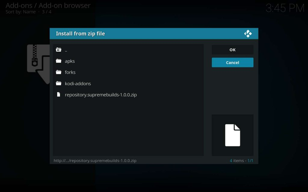 Note the SupremeBuilds Zip File is Selected and Click OK