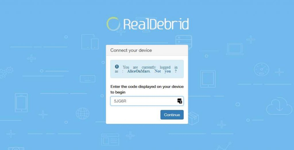 Real Debrid Site - Enter Your Code