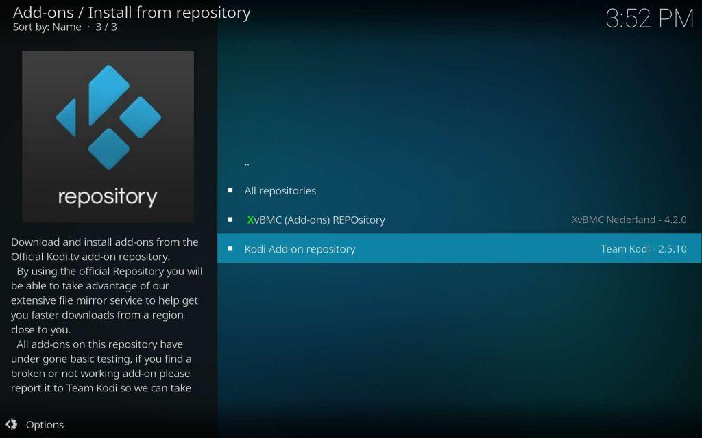 Select the Kodi Add-on Repository if Necessary
