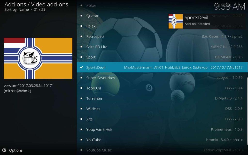 SportsDevil Install Successful