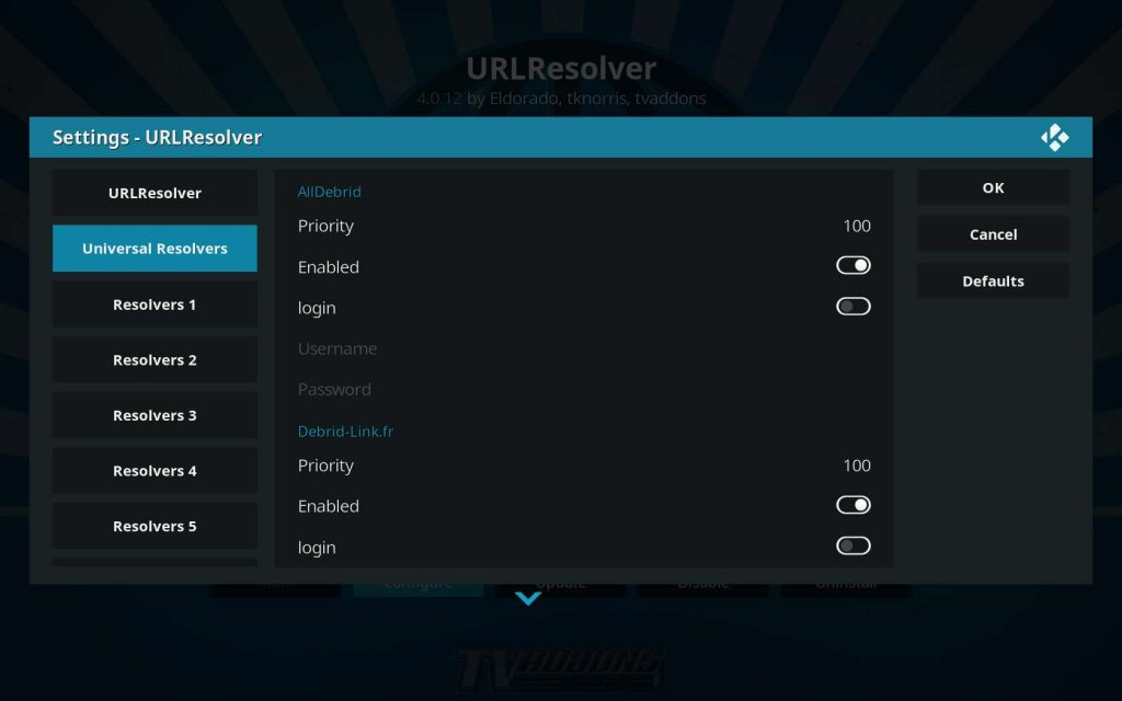 Universal Resolvers URLResolver Settings