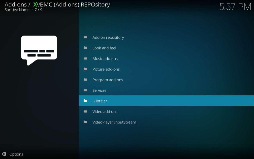 XvBMC Subtitles Directory