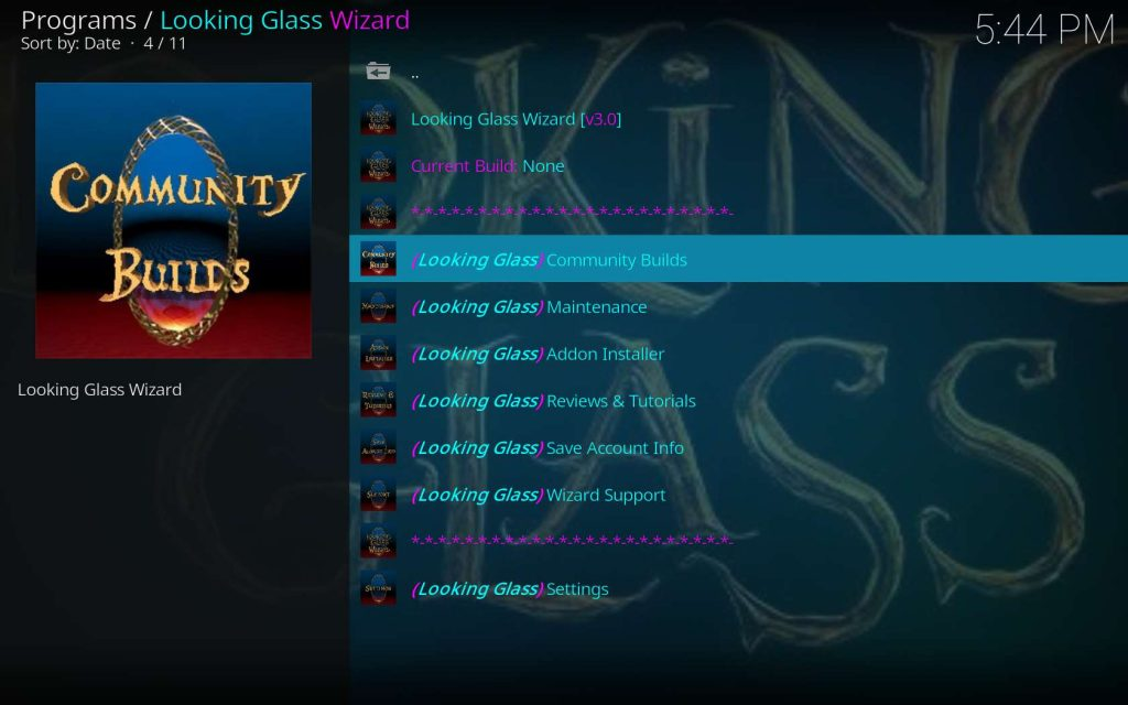 Go into the Looking Glass Wizard Community Builds Area