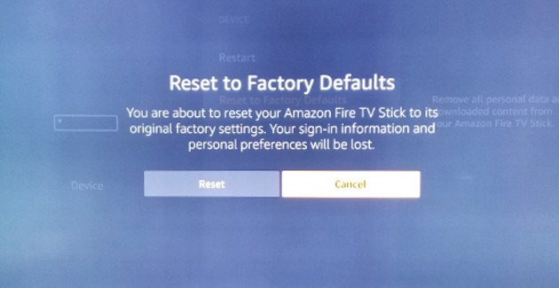 fire factory reset no remote