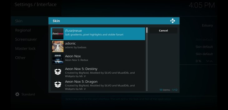 best kodi skin selection