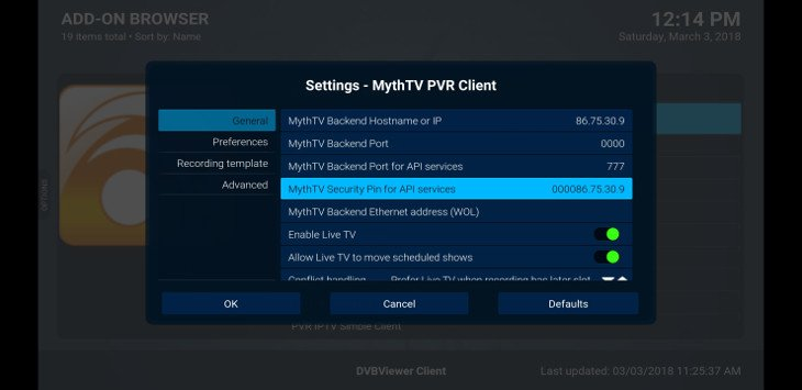 kodi live tv PVR settings