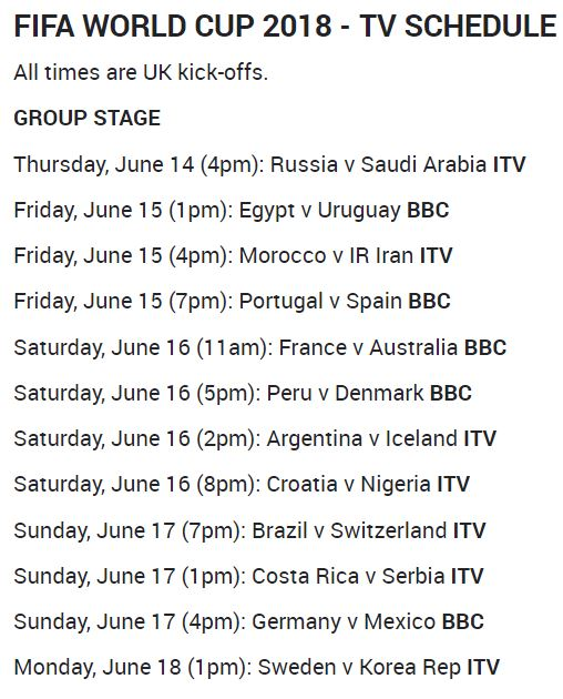 World Cup Round 1 Schedule