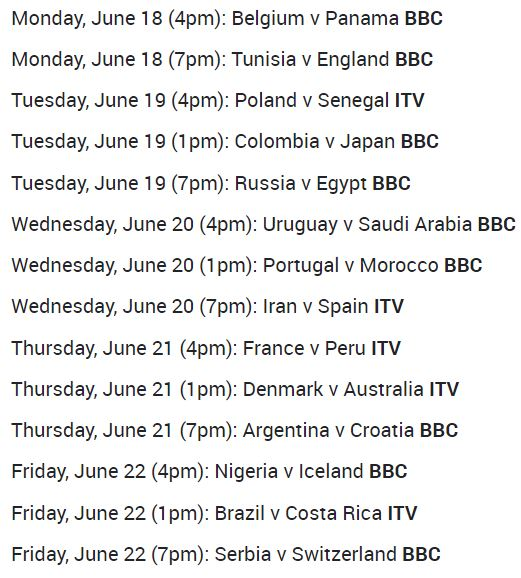 World Cup Schedule
