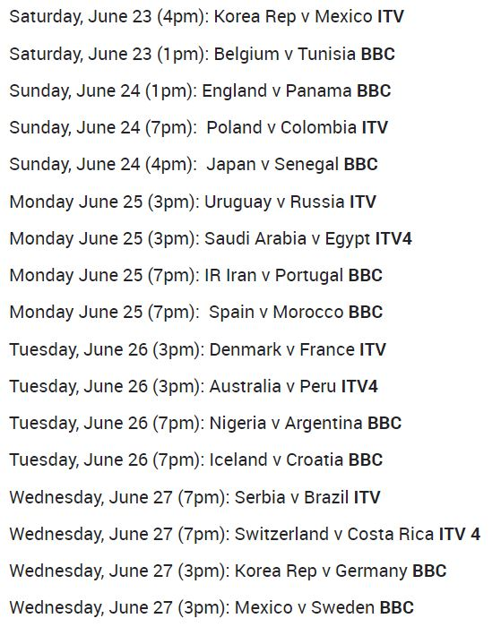 2018 FIFA World Cup Schedule