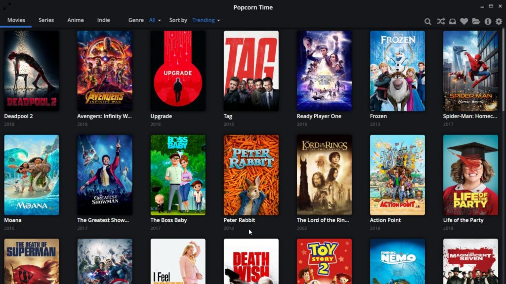"Popcorn Time main menu (""homescreen"")"