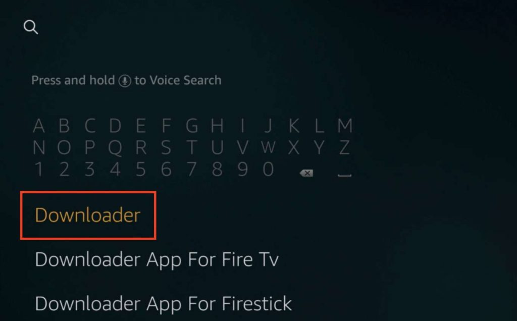 "Enter ""Downloader"" to search for the Firestick Downloader app"