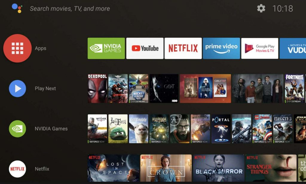 Nvidia Shield Games from the home screen