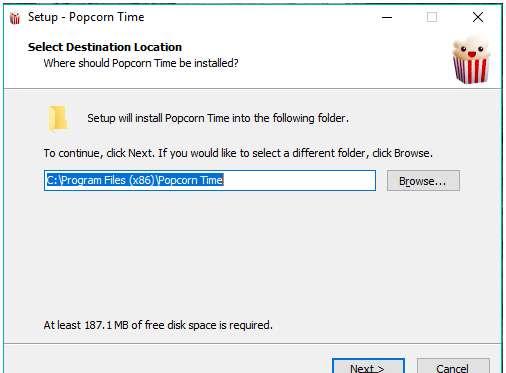 Install Popcorn Time on Windows PC