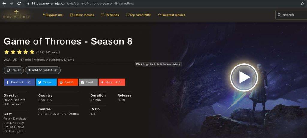 MovieNinja.io for streaming GoT online