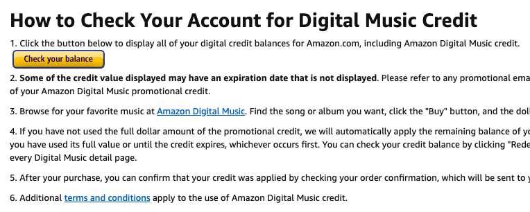 Check Amazon Digital Music credit