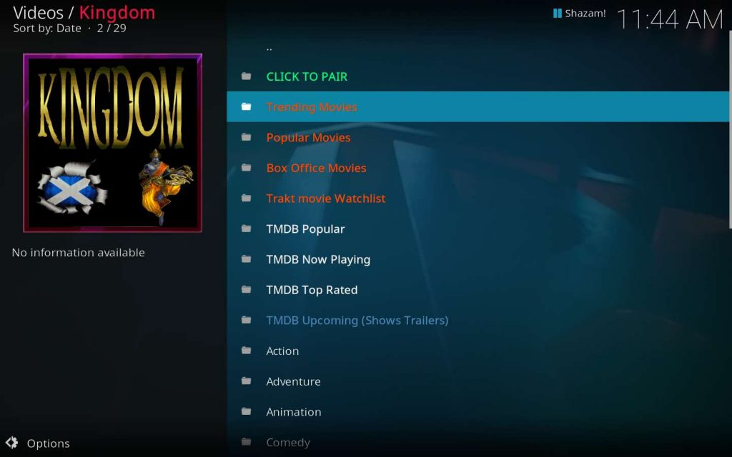 Kodi Kingdom Addon movies categories