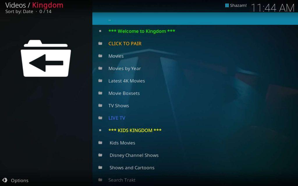 Kingdom addon for Kodi home screen